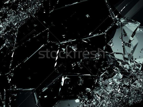 Vidro quebrado peças preto grande abstrato Foto stock © Arsgera