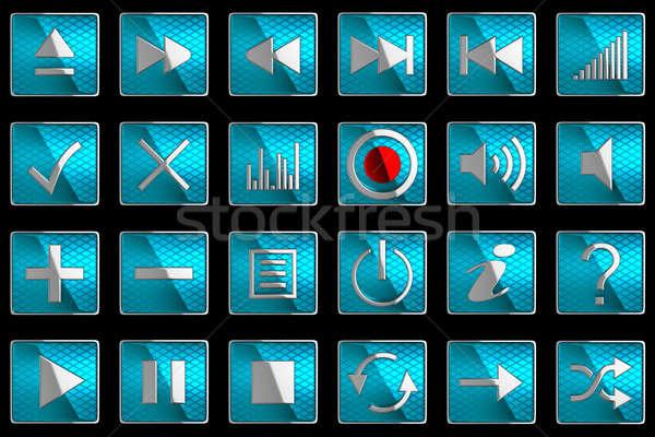 広場 青 コントロールパネル アイコン ボタン 孤立した ストックフォト © Arsgera