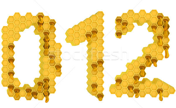 Honey font 0 1 and 2 numerals isolated Stock photo © Arsgera