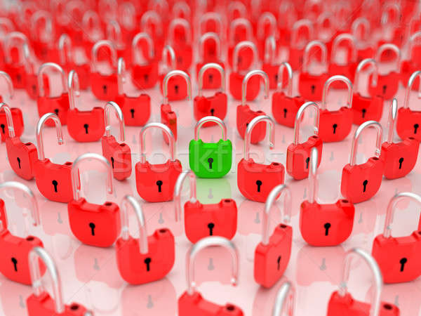 Opened lock among locked ones Stock photo © Arsgera