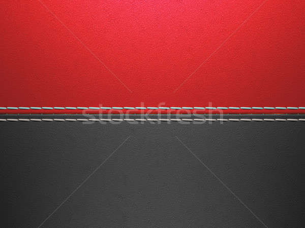 Red and black horizontal stitched leather background Stock photo © Arsgera