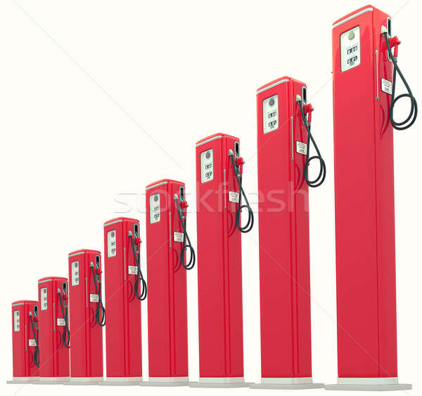 Red gasoline pumps chart: Rise in fuel cost Stock photo © Arsgera