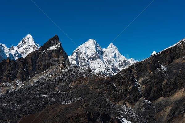 Mountain peaks viewed from Renjo pass in Himalaya Stock photo © Arsgera