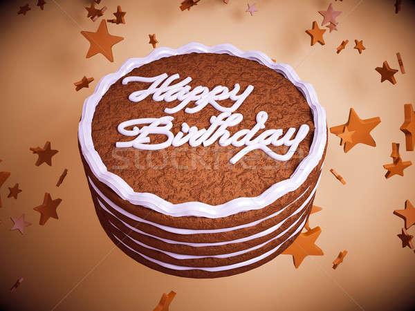 Feliz cumpleaños torta colorido estrellas grande Foto stock © Arsgera