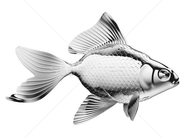 Silver fish with fins and scales isolated Stock photo © Arsgera