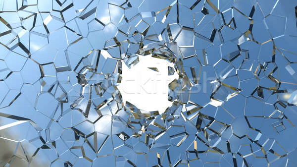 Sharp pieces of blue shattered glass and hole  Stock photo © Arsgera