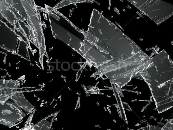 Many pieces of shattered glass over black Stock photo © Arsgera