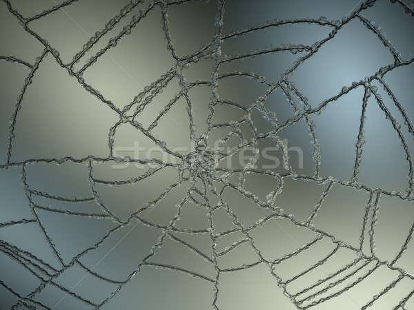 Cracked and Splitted glass with gradient light Stock photo © Arsgera