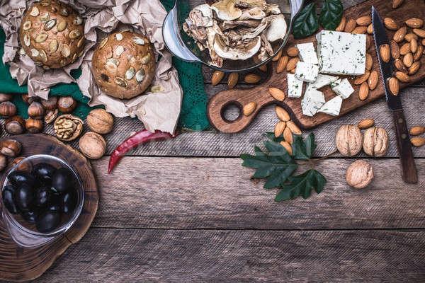 ランチ オリーブ ナッツ 羊 チーズ パン ストックフォト © Arsgera