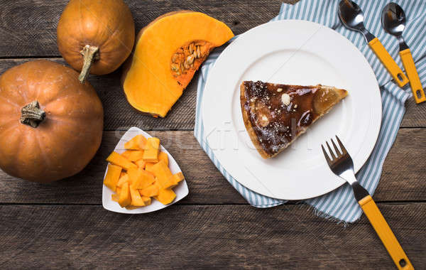 pumpkins and pie on plate in Rustic style Stock photo © Arsgera