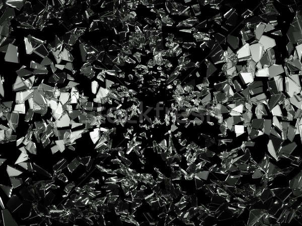 Shattered pieces of glass on black Stock photo © Arsgera