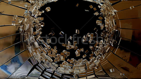 Demolishing: pieces of cubic shattered glass Stock photo © Arsgera