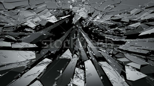 Pieces of Broken or Shattered glass on black Stock photo © Arsgera
