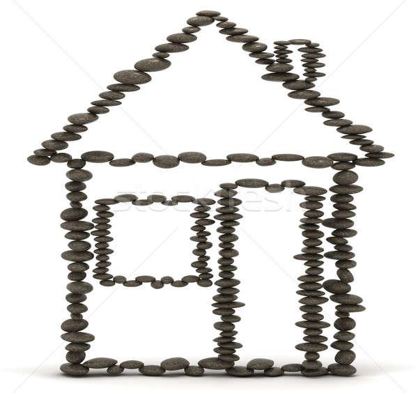 住宅 安定 バランスのとれた 石 塔 ストックフォト © Arsgera