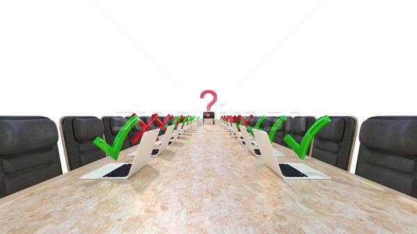 Corporativo reunião couro cadeiras laptops Foto stock © Arsgera