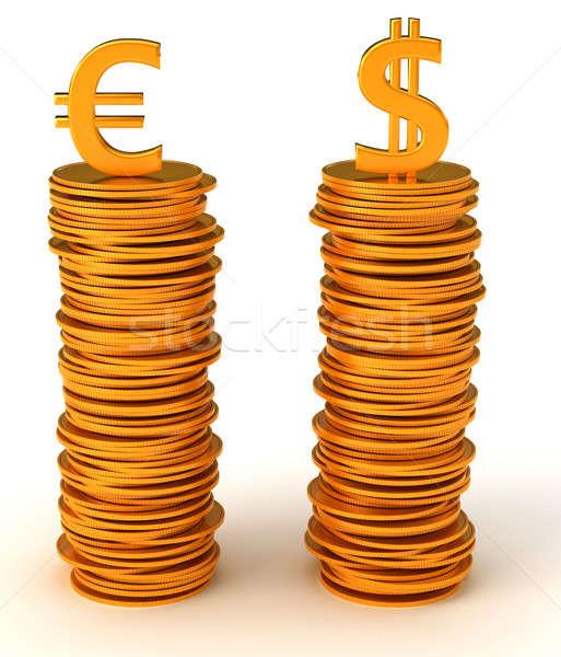 通貨 平等 ドル ユーロ 白 金属 ストックフォト © Arsgera