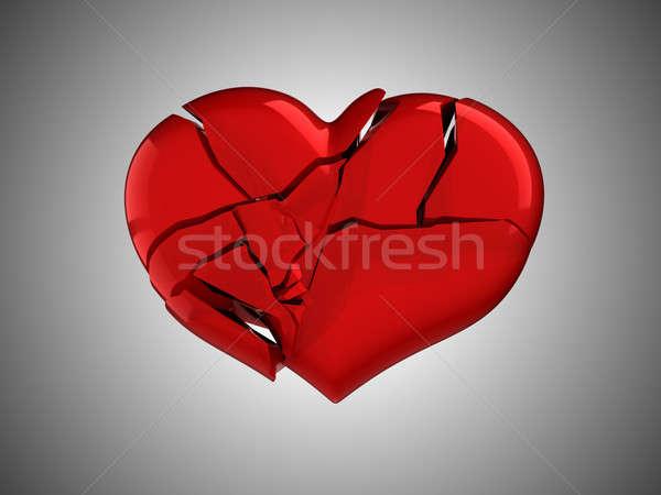 Death and illness. Red Broken Heart Stock photo © Arsgera