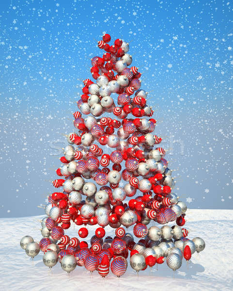 Firtree shape assembled with Xmas decoration Stock photo © Arsgera
