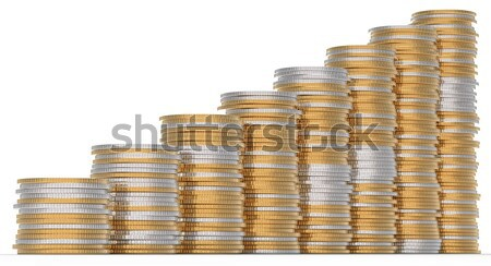 Stock photo: Growth: golden and silver coins stacks