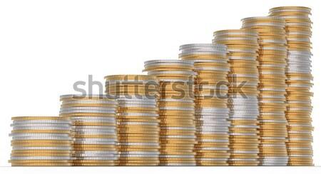 Crecimiento dorado plata monedas metal financiar Foto stock © Arsgera