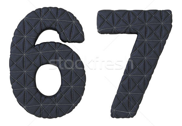 Stitched leather font 6 7 numerals Stock photo © Arsgera
