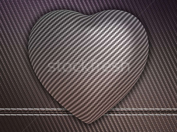 Carbon fibre heart on stetiched background Stock photo © Arsgera