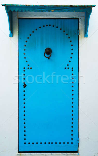 Blue door with pattern from Sidi Bou Said in Tunisia Stock photo © Arsgera