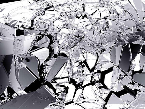 éles darabok törött üveg fekete izolált nagy Stock fotó © Arsgera