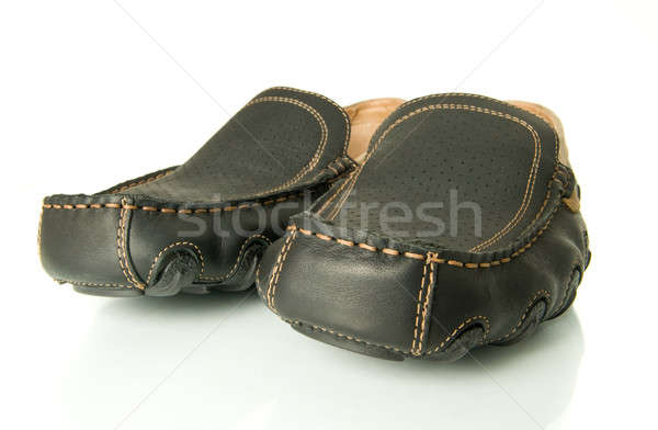 Closeup of black mens shoes moccasins Stock photo © Arsgera