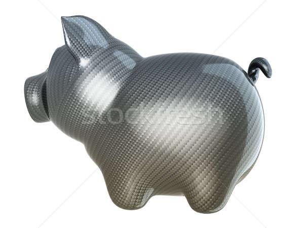 Carbon fiber piggy bank isolated Stock photo © Arsgera