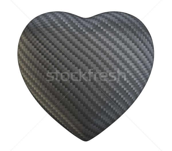 Carbon fibre heart shape isolated Stock photo © Arsgera