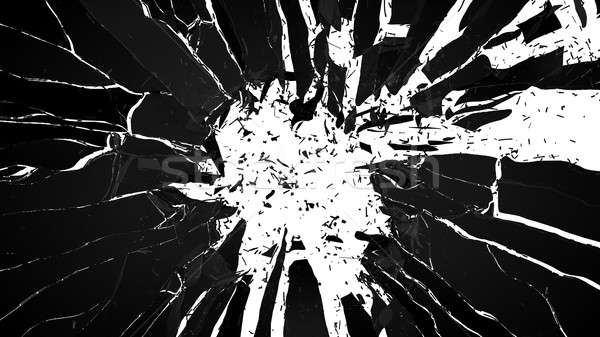 Shattered glass: sharp Pieces on white  Stock photo © Arsgera