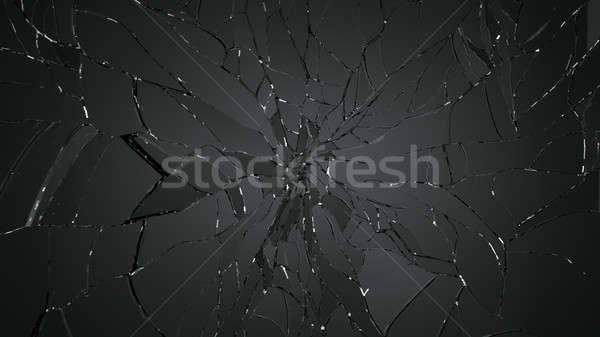Pièces fissuré verre noir résolution Photo stock © Arsgera