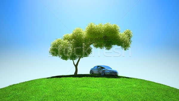 Nowoczesne pojazd drzewo zielone Błękitne niebo niebo Zdjęcia stock © Arsgera
