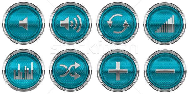 青 コントロールパネル ボタン 孤立した 白 ガラス ストックフォト © Arsgera