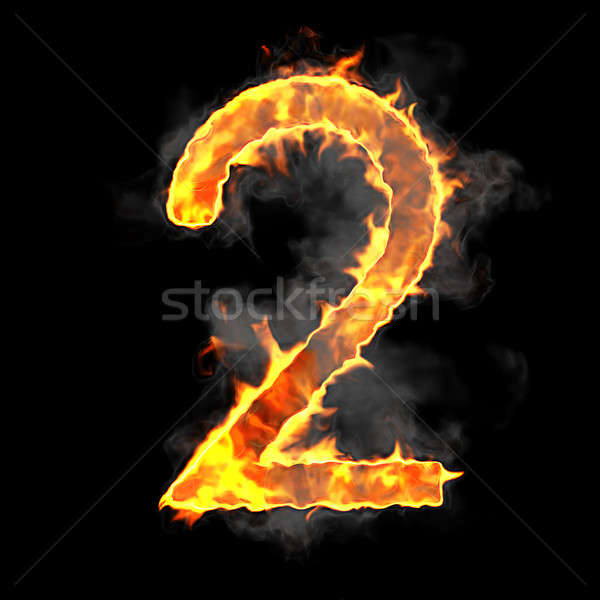 Stock photo: Burning and flame font 2 numeral