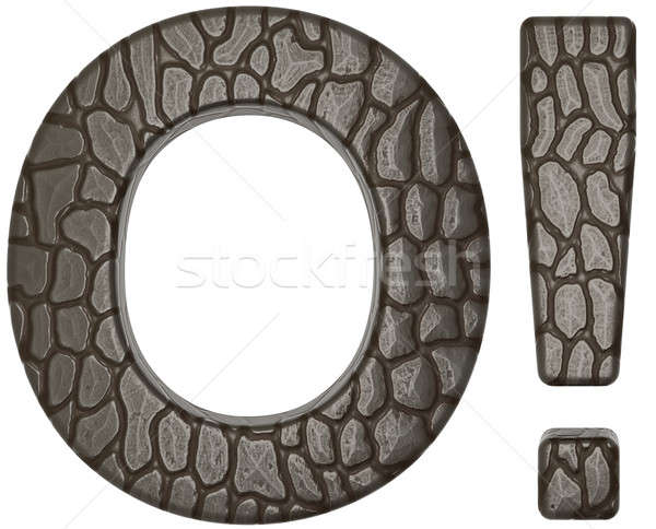 Alligator skin font exclamation mark and O letter Stock photo © Arsgera