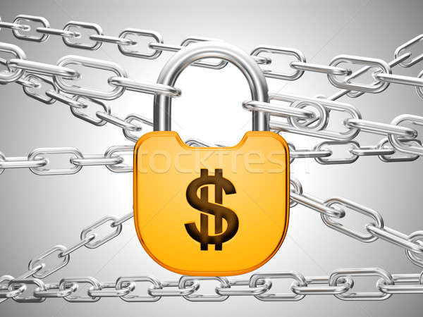 Dollar safety concept: padlock and chains Stock photo © Arsgera