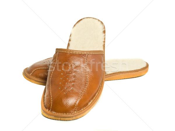 Stockfoto: Paar · bruin · huis · slippers · witte · home