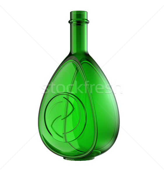 Green bottle for whisky or cognac with recycling symbol isolated Stock photo © Arsgera