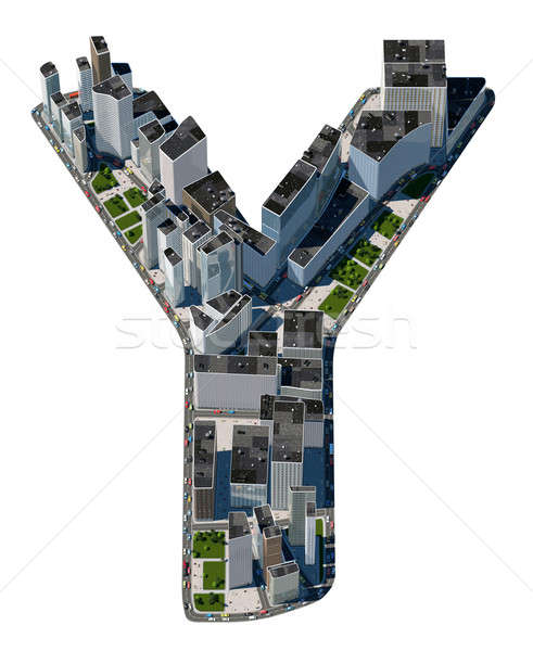 Urban Y letter from city font collection Stock photo © Arsgera
