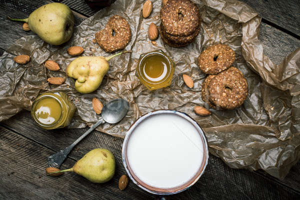 pears Cookies and sour cream on wooden table Stock photo © Arsgera
