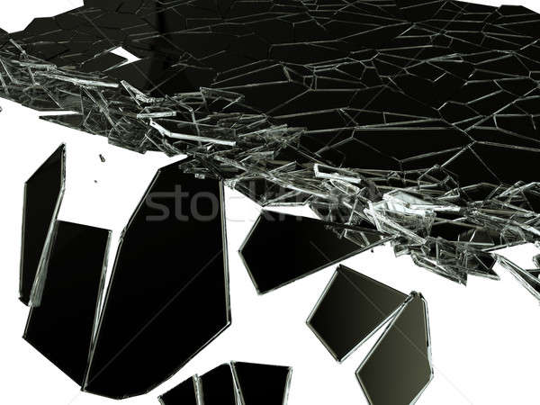 sharp Pieces of splitted glass on white Stock photo © Arsgera