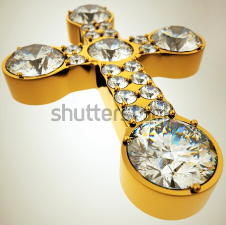 Golden X letter incrusted with diamonds Stock photo © Arsgera