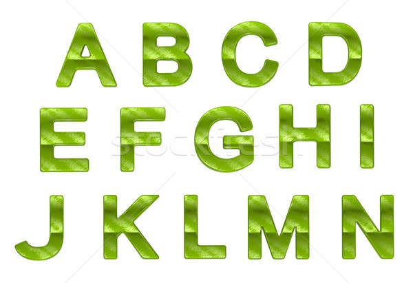 Green ecofriendly A-N letters with grass pattern  Stock photo © Arsgera
