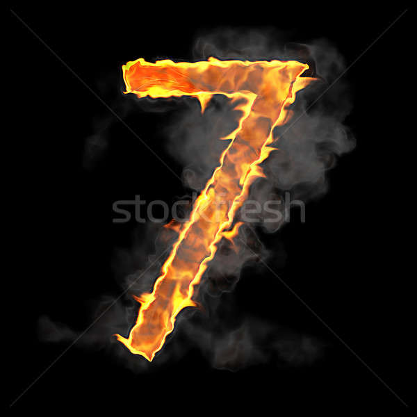 Burning and flame font 7 numeral Stock photo © Arsgera