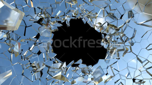 Bullet hole and pieces of shattered blue glass  Stock photo © Arsgera