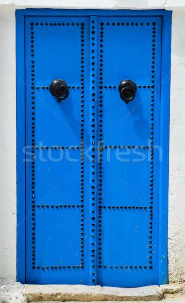 Blue traditional door from Sidi Bou Said in Tunisia Stock photo © Arsgera