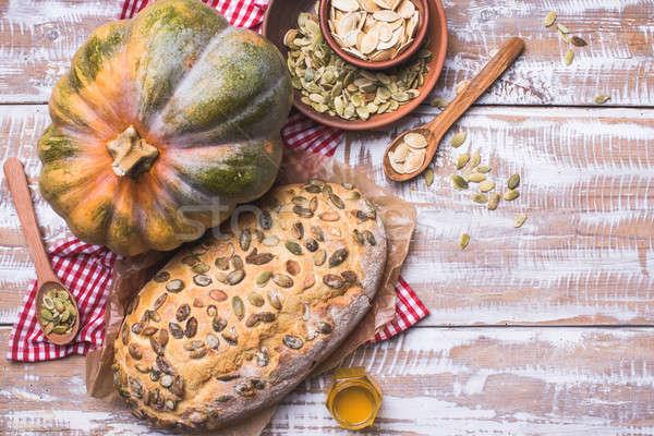 白パン カボチャ 種子 木製のテーブル 素朴な スタイル ストックフォト © Arsgera