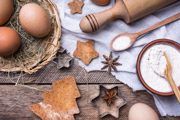 Сток-фото: мучной · яйца · рождество · праздник · Cookies